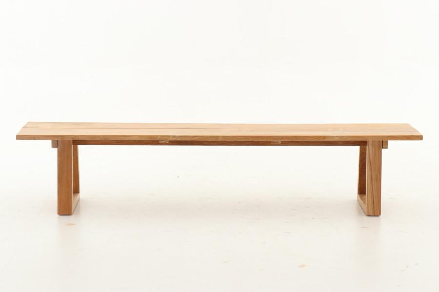 Side view of Joseph teak outdoor bench seat. 2.2m