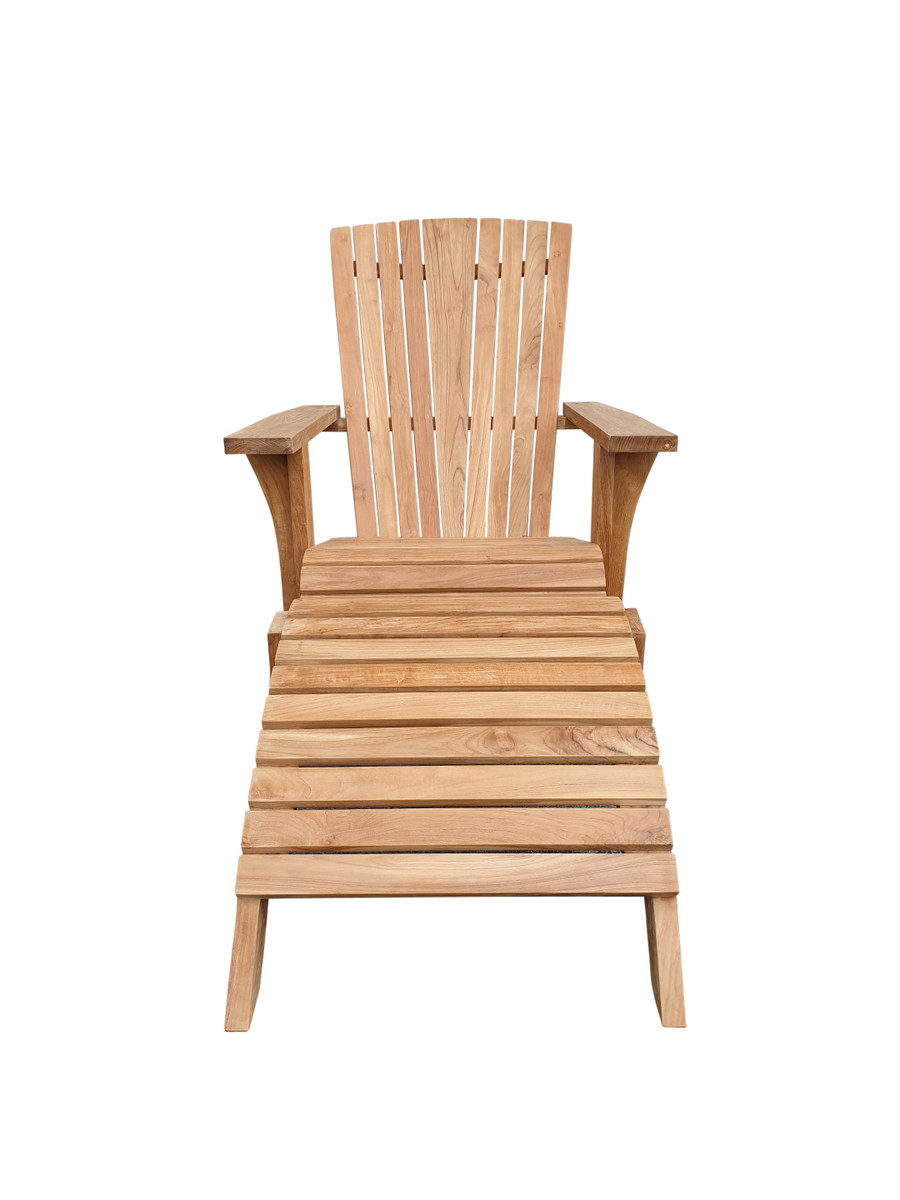 Front view of Cape Cod outdoor teak lounge chair