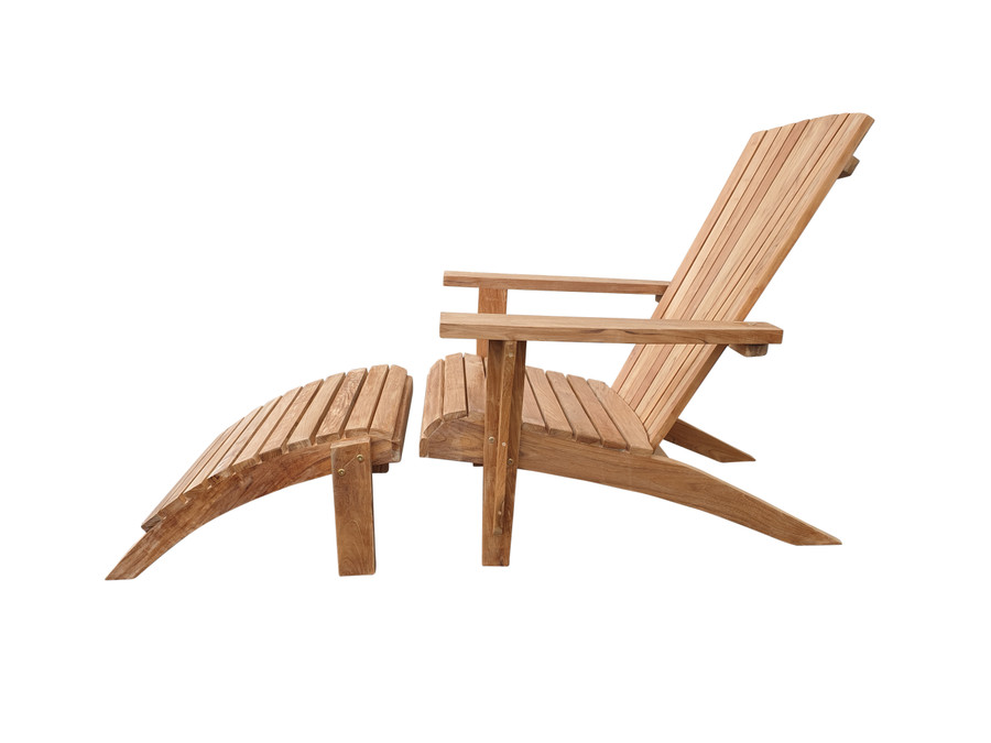 Side view of Cape Cod outdoor teak lounge chair, showing foot rest