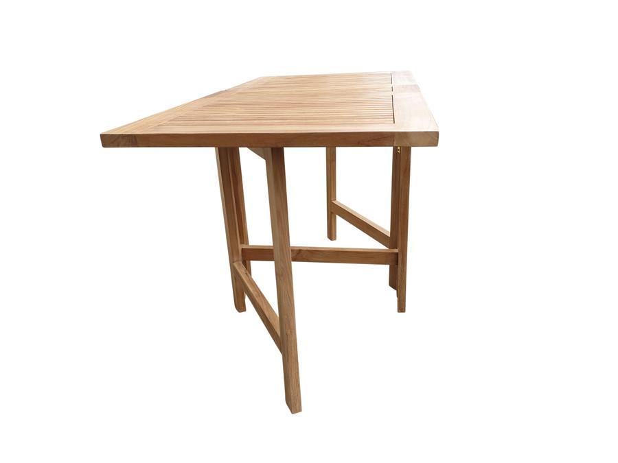 Teak folding butterfly table - end view