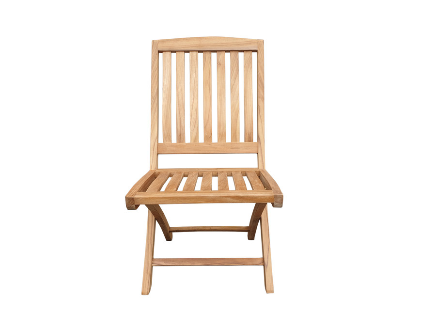 Luxus teak folding side chair - front view