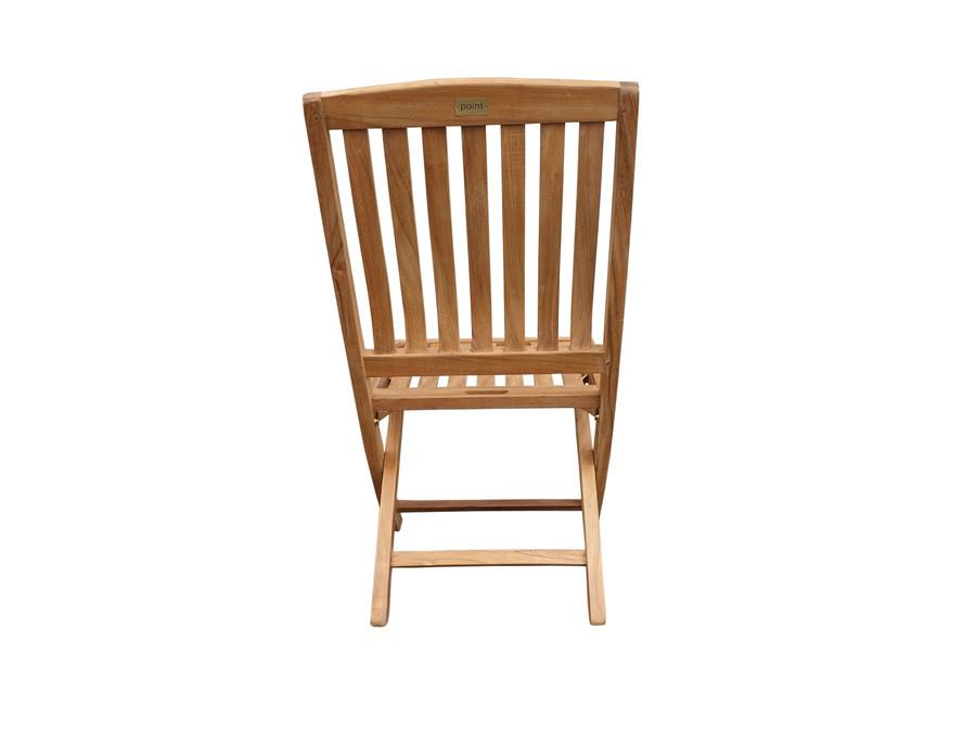 Luxus teak folding side chair - rear view