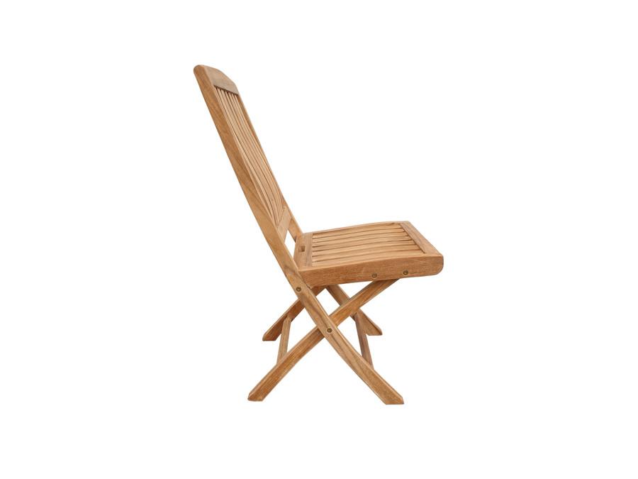 Luxus teak folding side chair - side view