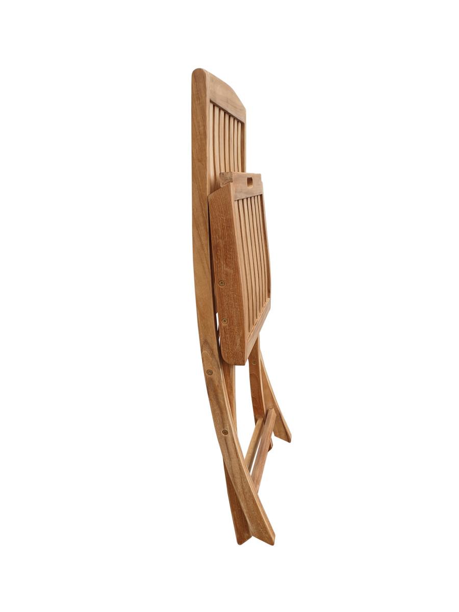 Luxus teak folding side chair - folded