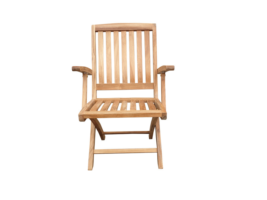 Front view of Luxus folding teak dining arm chair