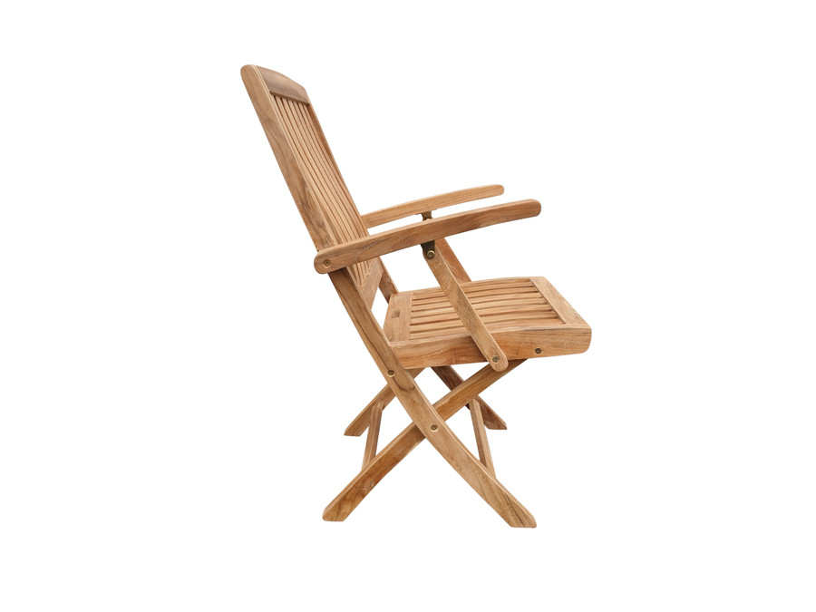 Side view of Luxus folding teak dining arm chair