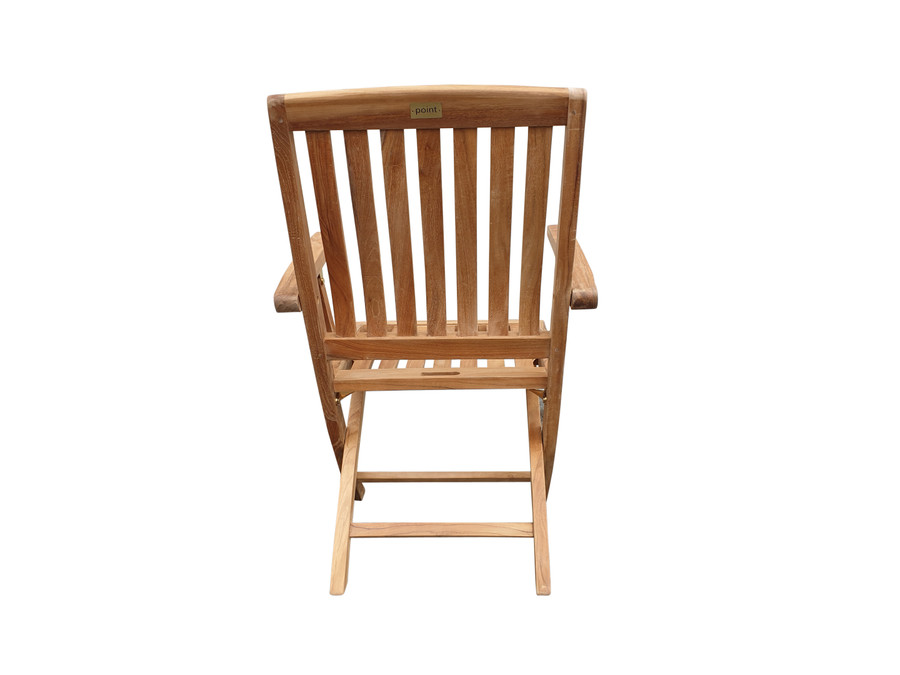 Rear view of Luxus folding teak dining arm chair
