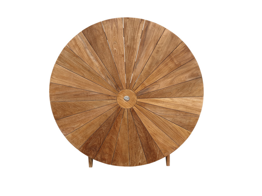 Matahari round, folding teak table 120cm dia. Folded for storage in upright position
