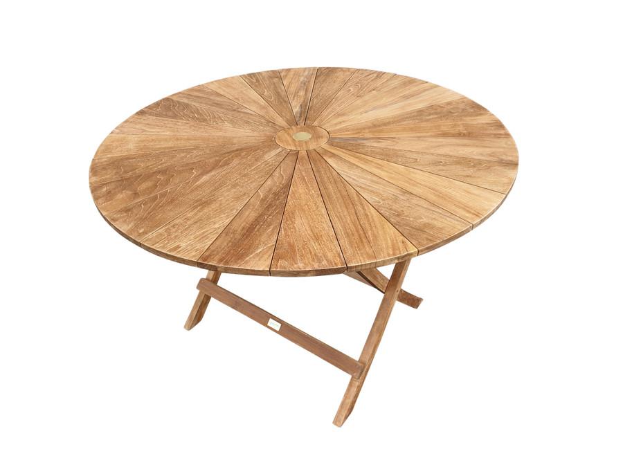 MATAHARI Teak, Round, Folding Outdoor Table 120cm dia