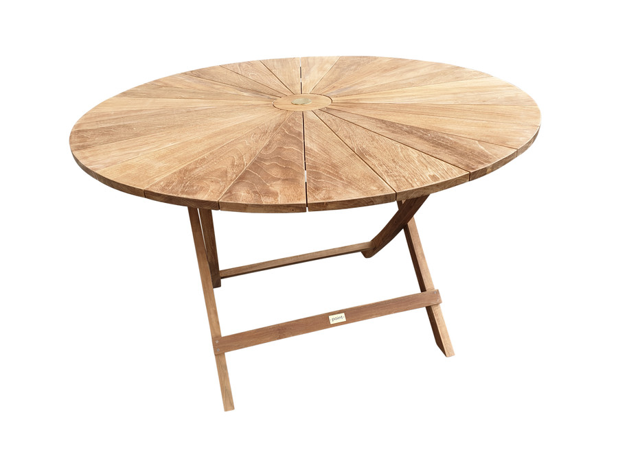 Matahari teak, round, folding outdoor table 120cm dia