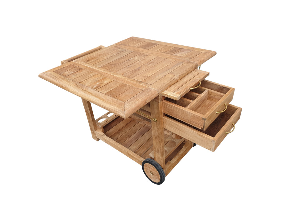 End view of Luxman teak outdoor trolley with pullout drawers and board