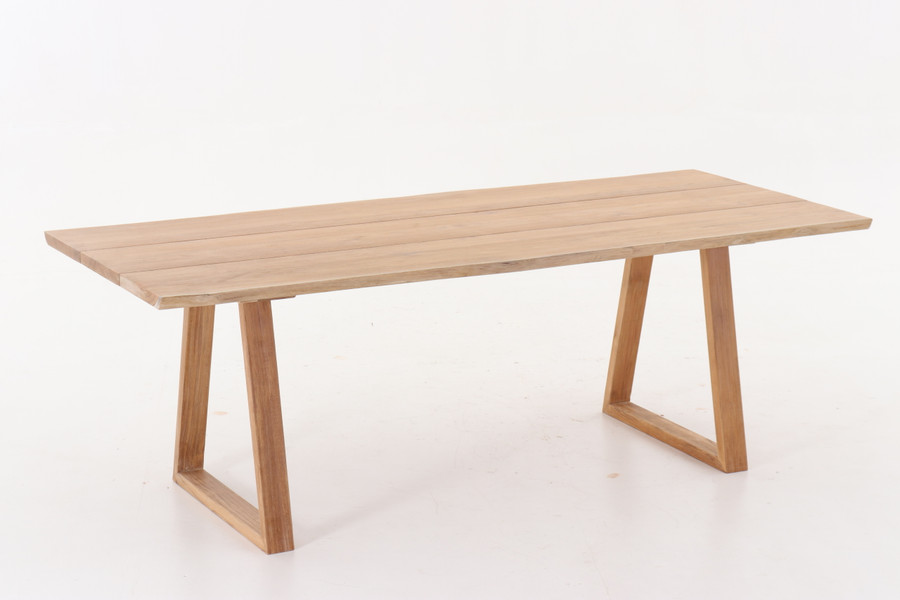 Living edge teak outdoor table