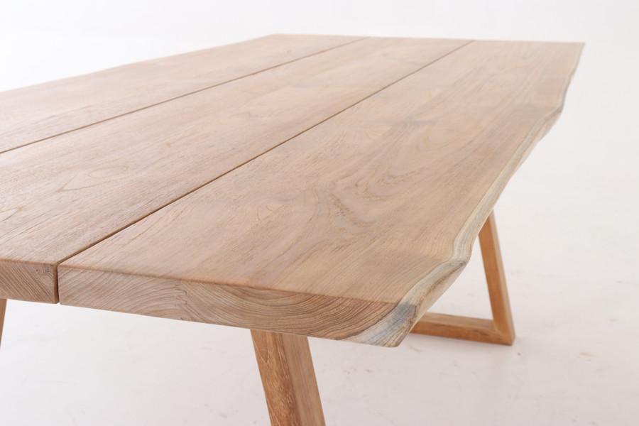 Top view of living edge teak outdoor table