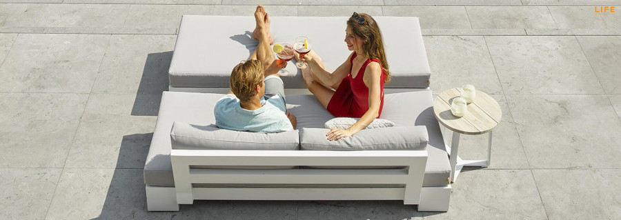 Cube outdoor sofa and bench by Life in white finish.