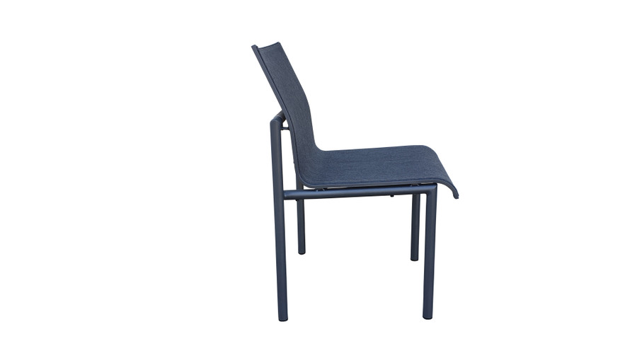 Side view of Bastingage dining side chair by Les Jardins