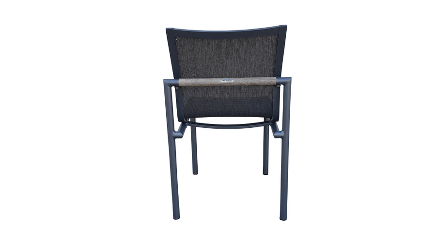 Rear view of Bastingage dining side chair by Les Jardins