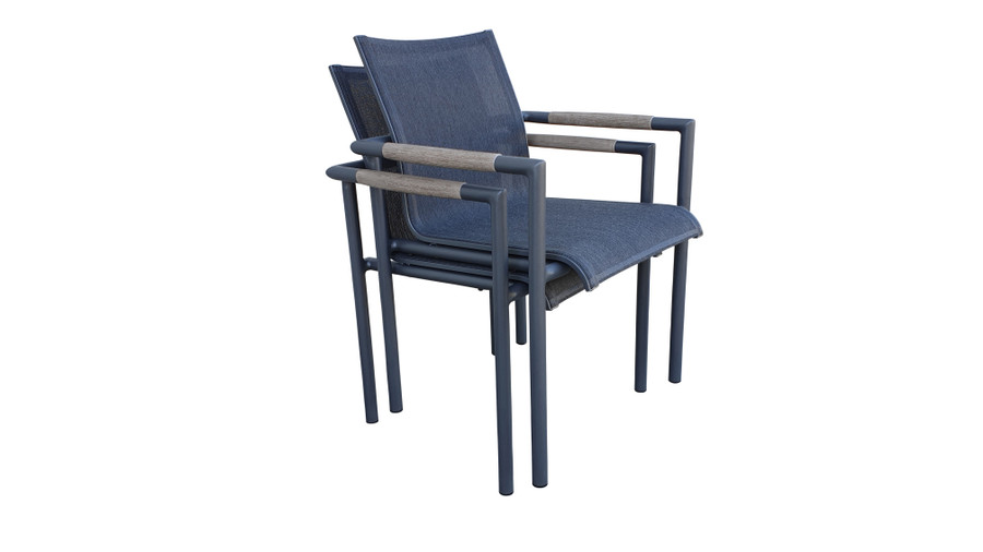 Bastingage stackable dining arm chair by Les Jardins - shown when stacked