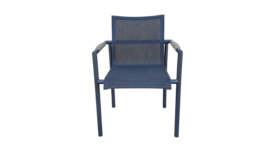 Front view of Bastingage stackable dining arm chair by Les Jardins