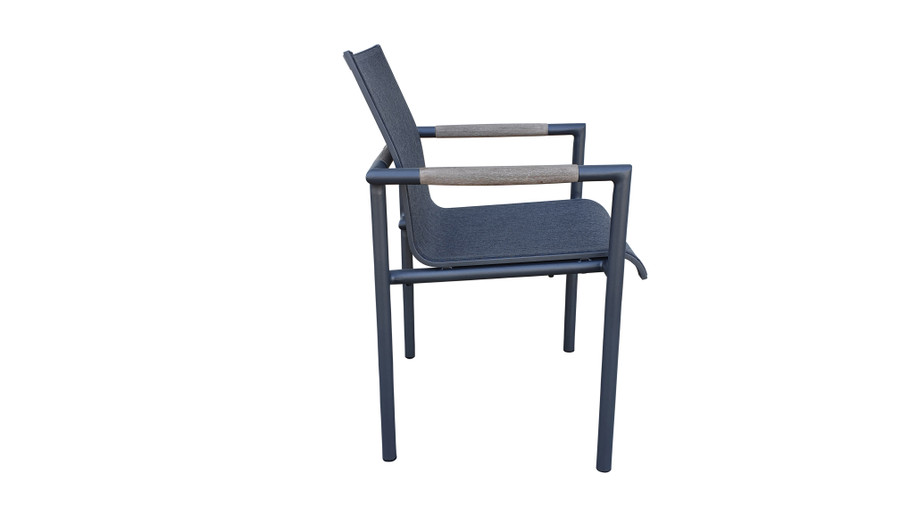 Side view of Bastingage stackable dining arm chair by Les Jardins