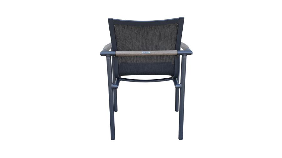 Rear view of Bastingage stackable dining arm chair by Les Jardins