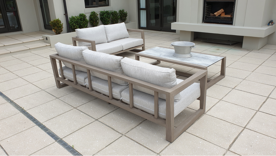 Beautiful Skaal outdoor lounging set in Whitford, comprising 3 & 2 person sofa and large coffee table