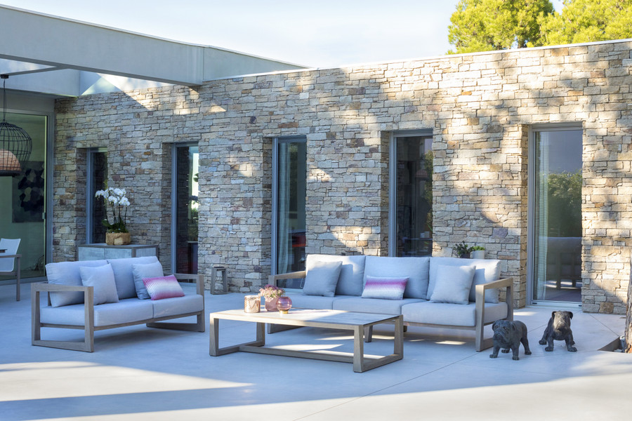 Skaal outdoor sofa collection by Les Jardins. Scatter cushions available separately.