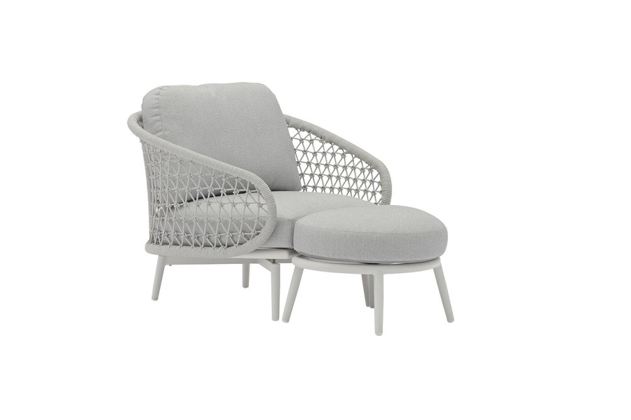 Cuddle outdoor aluminium and rope low arm chair, shown with optional extra footstool