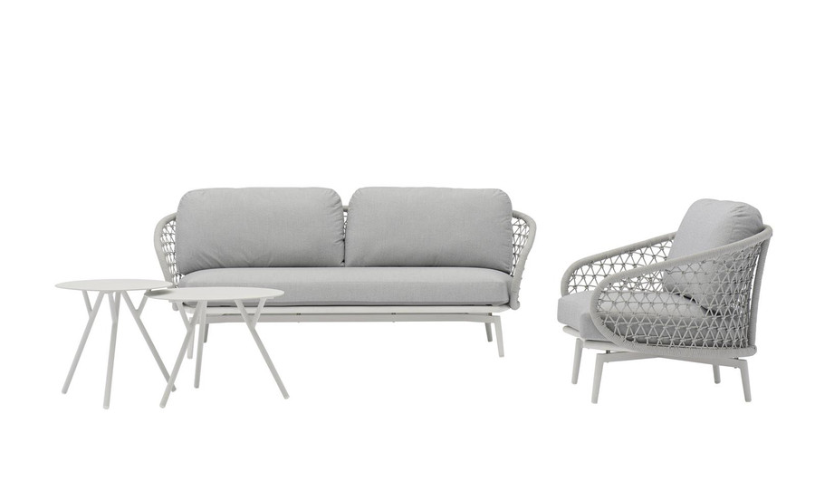 Cuddle outdoor aluminium and rope low arm chair, shown with matching 2.5 person sofa and Tree side tables