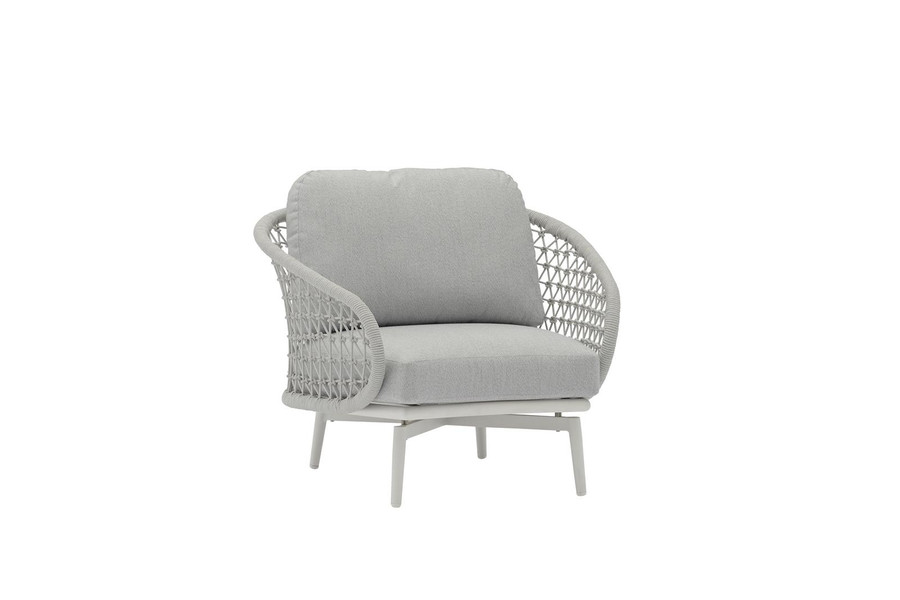 Cuddle outdoor aluminium and rope low arm chair