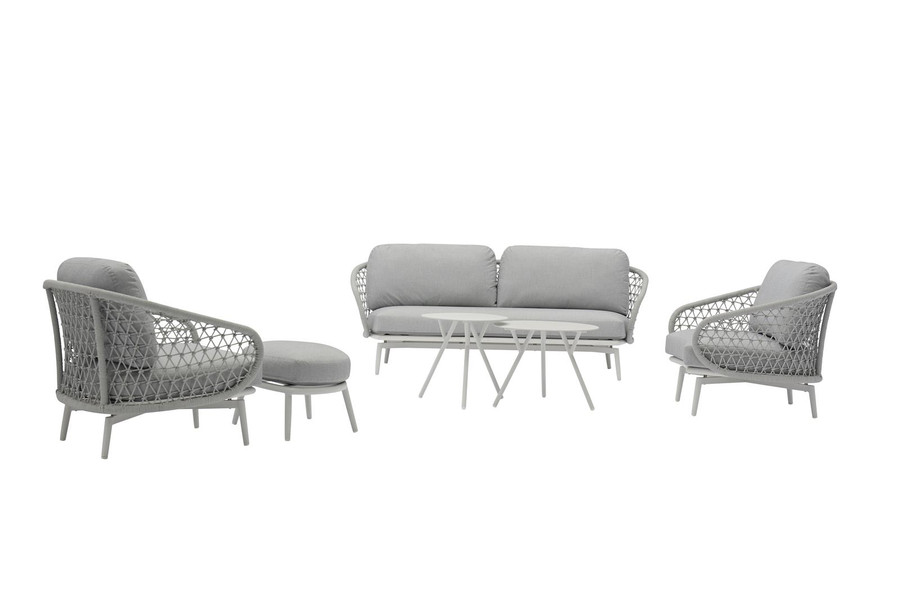 CUDDLE Outdoor Aluminium and Rope Lounge Chair - Light Grey