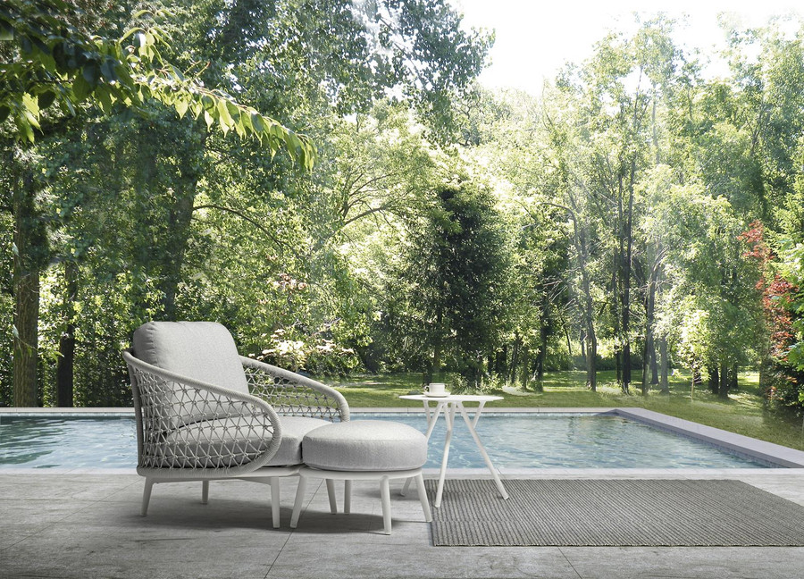 Cuddle outdoor aluminium and rope low arm chair, shown with OPTIONAL footstool, available separately