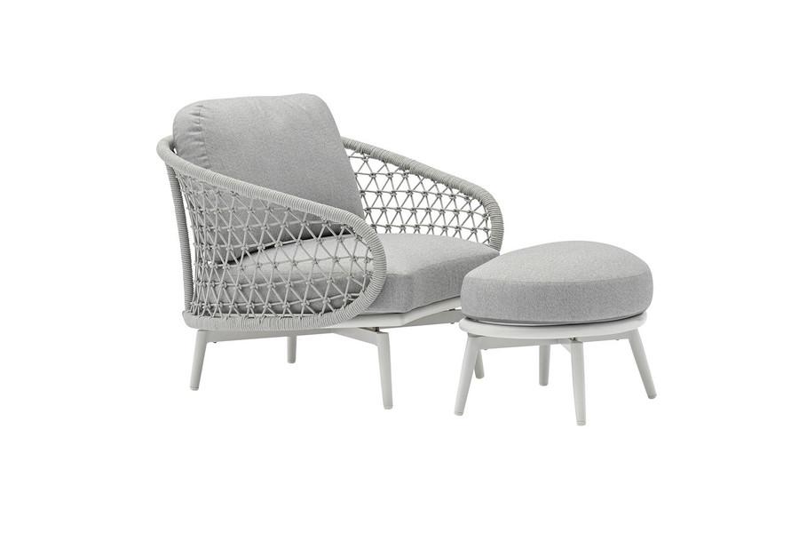 Cuddle Outdoor Aluminium and Rope Footstool - Light Grey