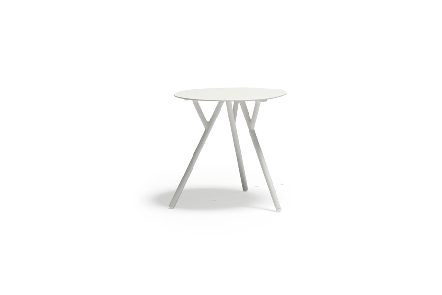 Tree outdoor aluminium side table in light grey by Couture - 50 dia x 50cm H
