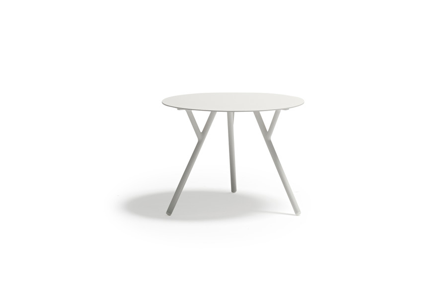 Tree outdoor aluminium side table in light grey by Couture - 60 dia x 45cm H