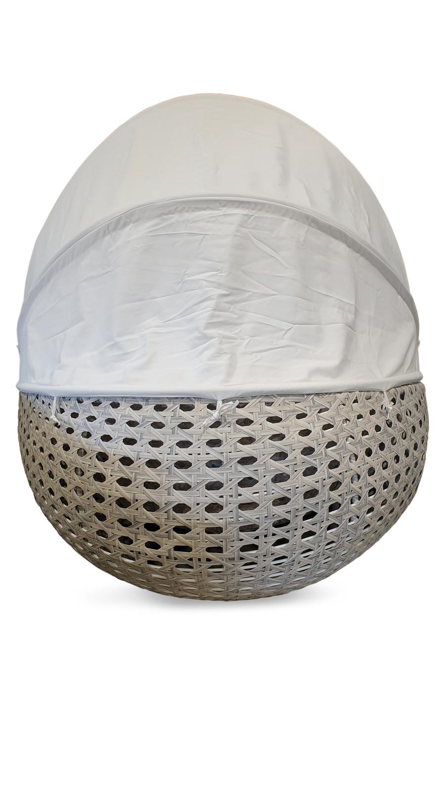Lovina Outdoor Aluminium Framed Synthetic Wicker Daybed with Sunbrella Canopy