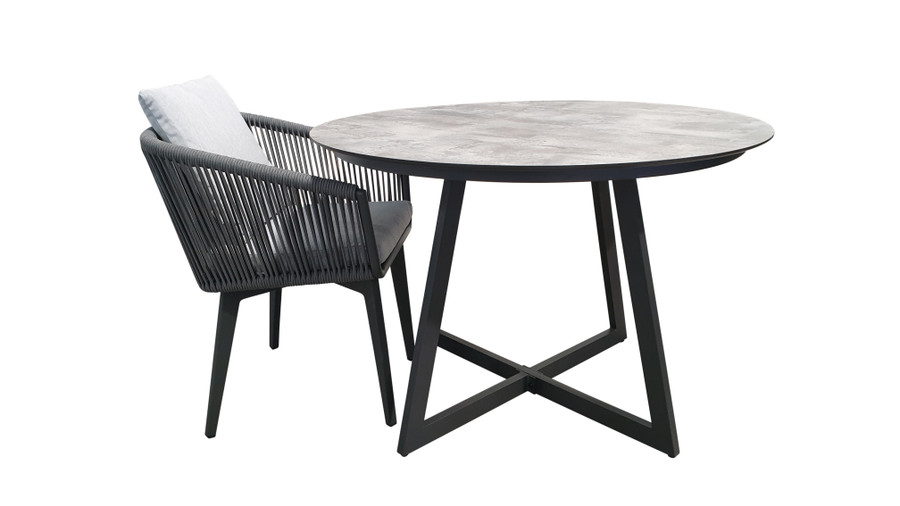 Jimmy outdoor table with HPL top works perfectly with the Diva dining chair (shown)