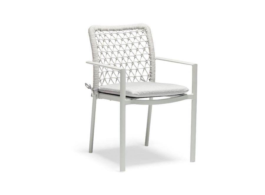 Club outdoor aluminium and rope stackable dining arm chair, with seat squab