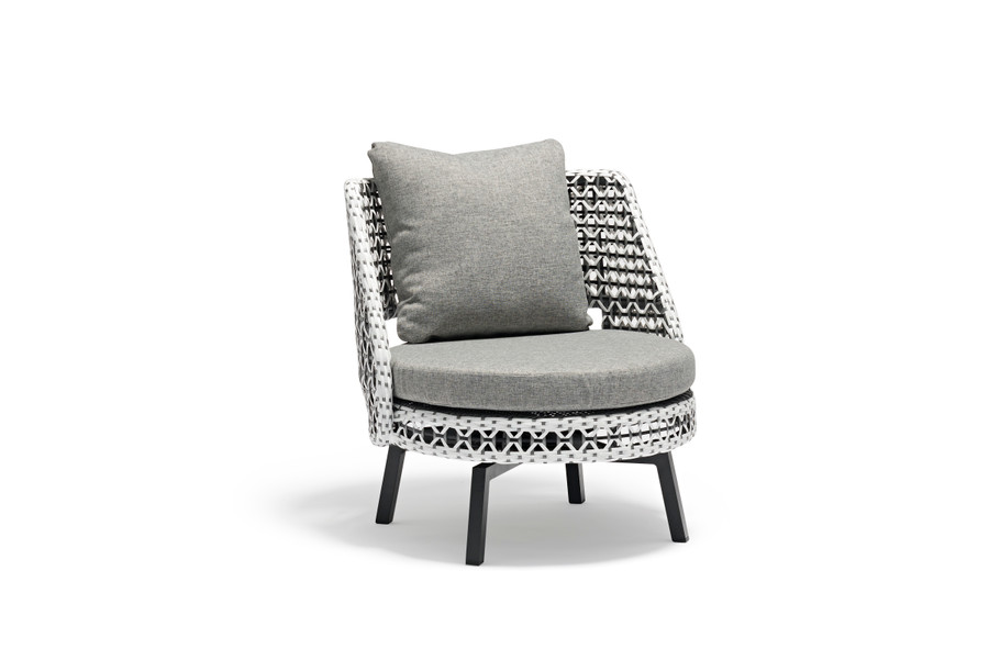 Tiki Swivelling Outdoor Aluminium and Synthetic Wicker Lounge Chair, with Sunbrella cushions.