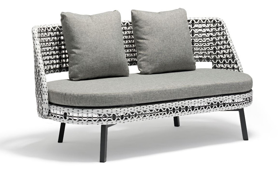 Tiki Outdoor Aluminium and Synthetic Wicker 2 person Sofa. NOTE :  POYNTERS SUPPLY THIS SOFA WITH 3 BACK CUSHIONS.