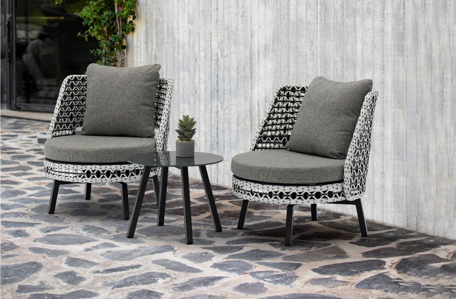 Tiki Swivelling Outdoor Aluminium and Synthetic Wicker Lounge Chair, shown with Tiki side table - small