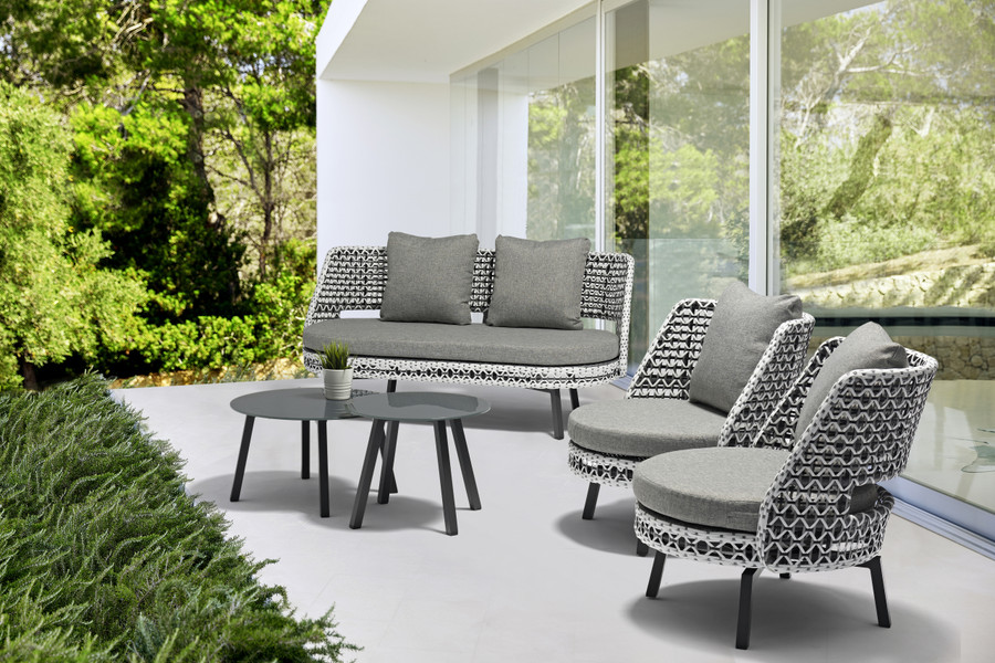 Tiki Swivelling Outdoor Aluminium and Synthetic Wicker Lounge Chair and sofa, shown with Tiki low and high side tables