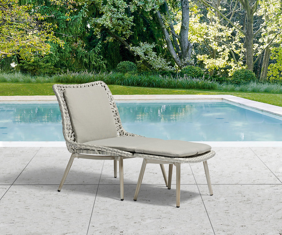 Esquire low chair with footstool and sunbrella squabs