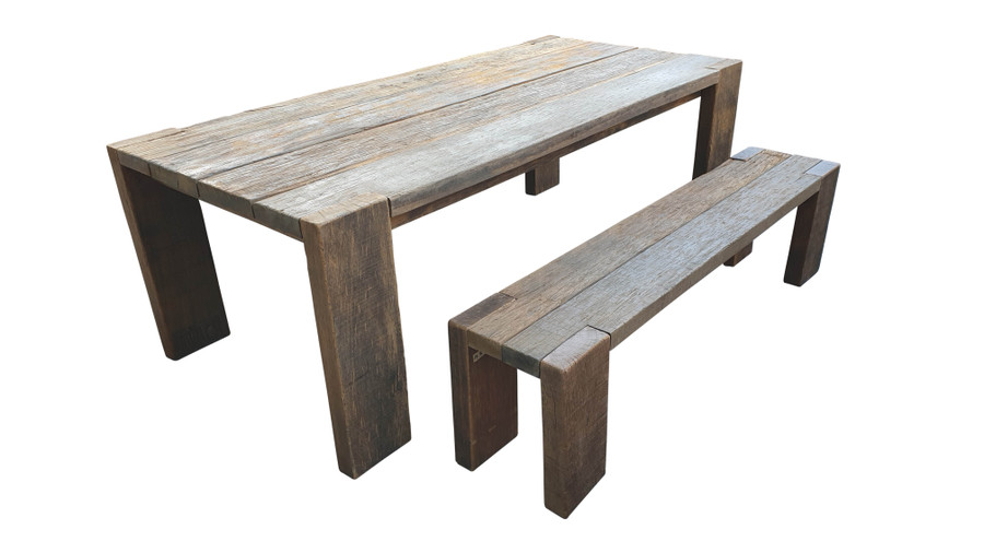 Exclusive reclaimed Railwood outdoor table - please read characteristics. Very heavy ! 2.2m table shown, with matching 1.8m railwood bench