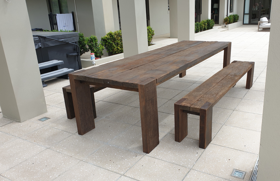 3m Railwood outdoor table and benches in Whitford