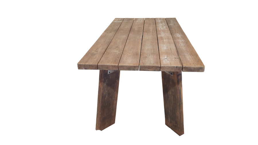 End view of Pure Harvest reclaimed teak outdoor table 220x100cm
