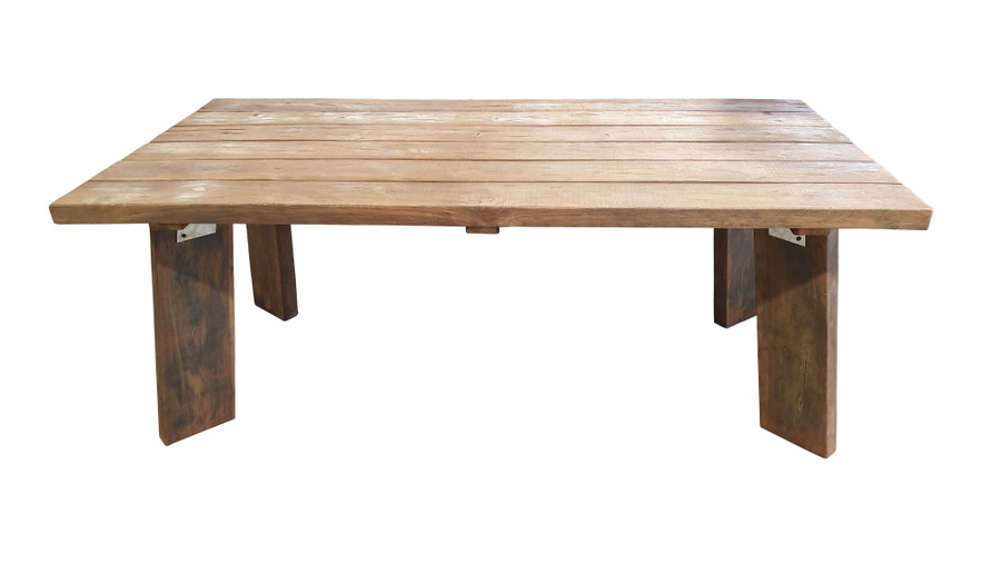 Side view of Pure Harvest reclaimed teak outdoor table 220x100cm