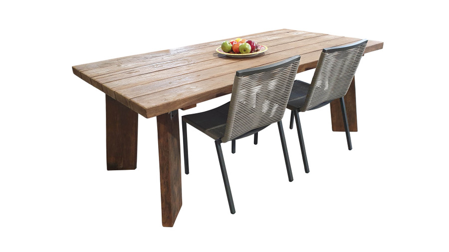 Pure Harvest reclaimed teak outdoor table 220x100cm shown with our Ribbon stacking side chairs