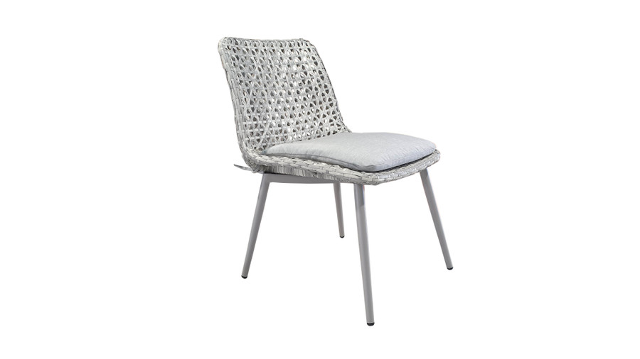 Esquire Synthetic Wicker and Aluminium framed outdoor dining side chair with Sunbrella seat cushion