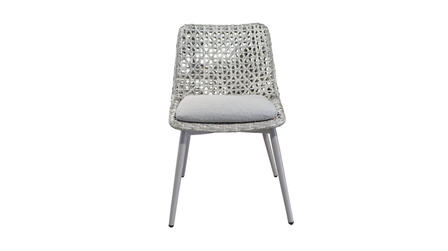 Front view of Esquire Synthetic Wicker and Aluminium framed outdoor dining side chair with Sunbrella seat cushion
