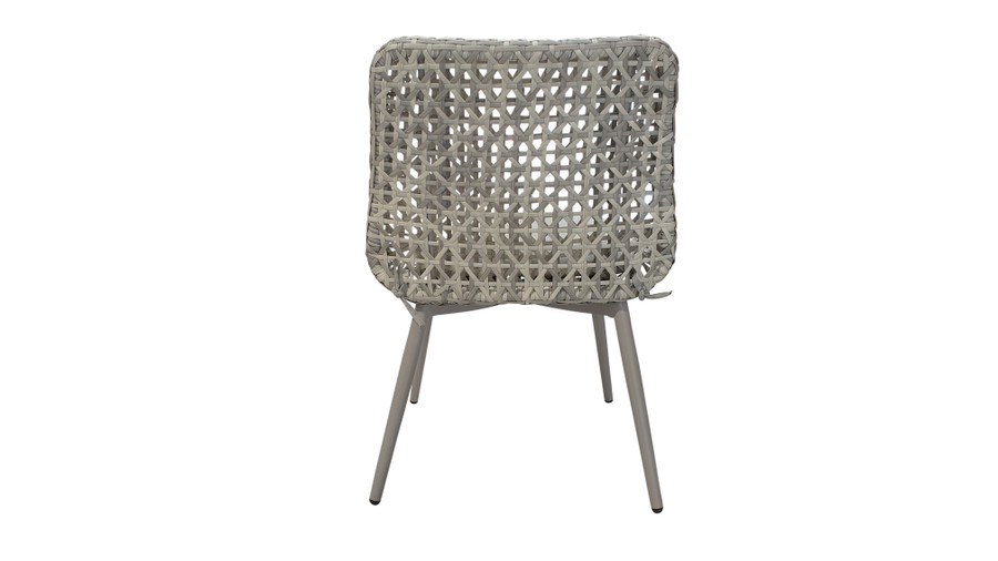Back view of Esquire Synthetic Wicker and Aluminium framed outdoor dining side chair with Sunbrella seat cushion